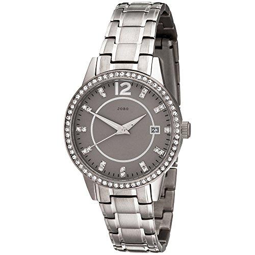 JOBO Damen Armbanduhr Quarz Analog Titan mit Swarovski Elements Damenuhr Datum