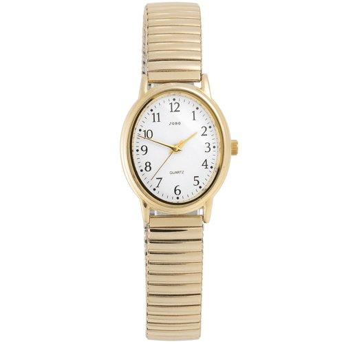Damen Armbanduhr Quarz Analog Edelstahl vergoldet Mineralglas Flexband