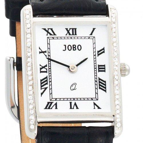 Damenuhr 925 S silber Zirkonia Lederband schwarz Mineralglas