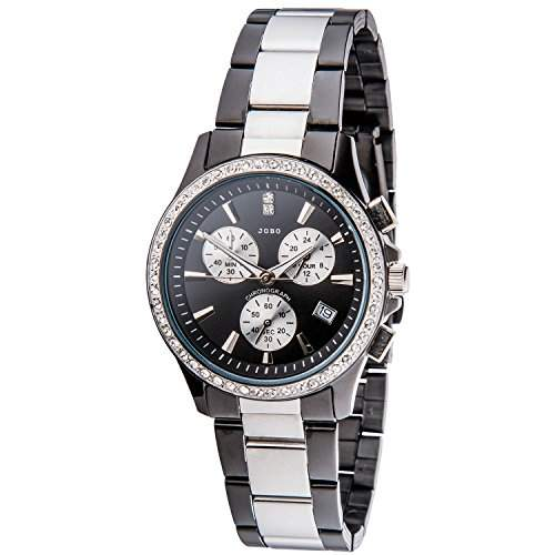 JOBO Damen-Armbanduhr Quarz Chronograph Edelstahl mit Swarovski-Elements