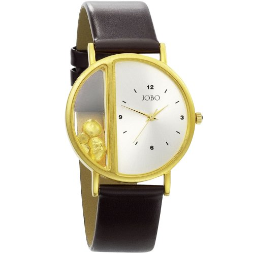 JOBO Unisex Armbanduhr Quarz Analog vergoldet Lederband Mineralglas
