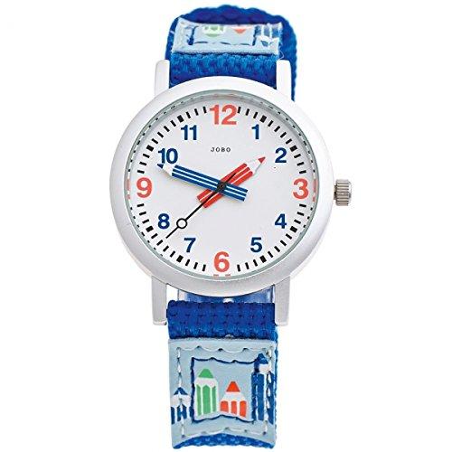 JOBO Kinder Armbanduhr blau Quarz Analog Aluminium Edelstahlboden Kinderuhr