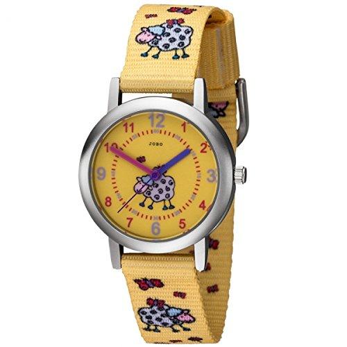 JOBO Kinder Armbanduhr Schaf Schaefchen gelb Quarz Analog Kinderuhr