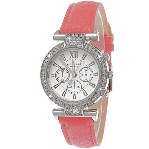Designer Strass Damenuhr,Damen Armband Uhr im Chronograph Stil,RosaSilber D76