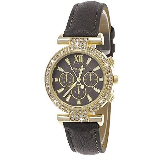 Designer Strass Damenuhr,Damen Armband Uhr im Chronograph Stil,GrauGold D80