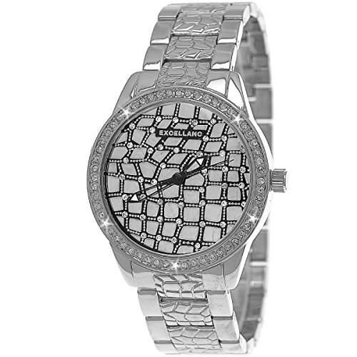 Designer Strass Damenuhr,Moderne Damen Kristall Armband Uhr,Silber D268