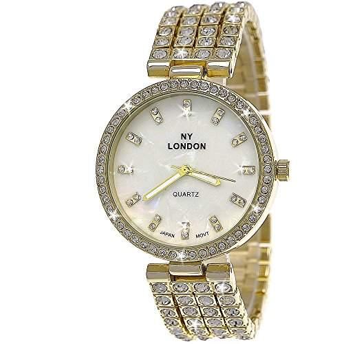 Moderne Strass Damenuhr,Damen Armband Uhr mit Perlmutt Zifferblatt,Gold,Weiss D112