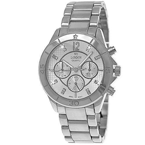 Moderne designer Damenuhr,Damen Armband Uhr im Chronograph Stil,Silber D99