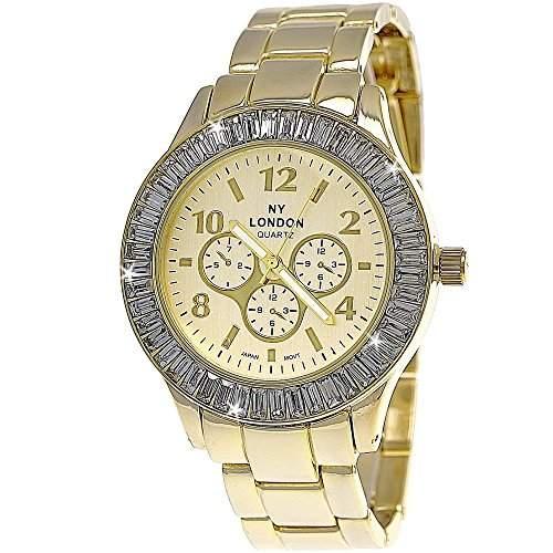 Designer Strass Damenuhr,Damen Armband Uhr im Chronograph Stil,Gold D100