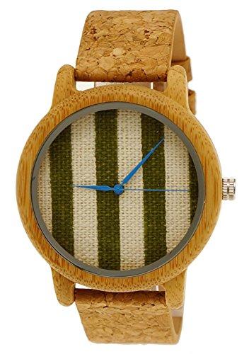 Henny Klein designer Holzuhr Damen OEko Vegan Natur Holz Armbanduhr mit Baumwoll Ziffernblatt und Kork Armband limitierte edition inkl Uhrenbox