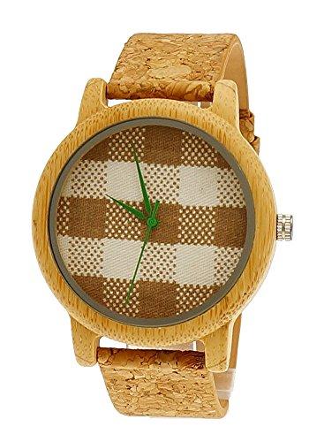 Henny Klein designer Damen OEko Vegan Natur Holz Armbanduhr Uhr mit Baumwoll Ziffernblatt und Kork Armband limitierte edition inkl Uhrenbox