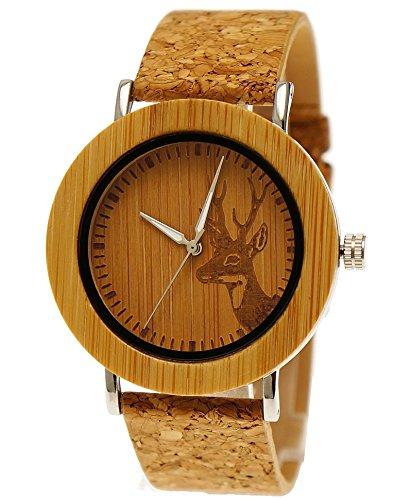 Henny Klein designer Damen OEko Vegan Natur Holz Armbanduhr mit Holz Ziffernblatt Uhr und Kork Armband Hirsch Motiv limitierte edition inkl Uhrenbox