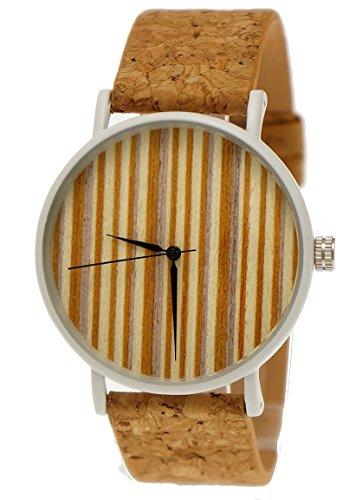 Henny Klein designer Unisex Damen Herren OEko Vegan Natur Holz Slim Armbanduhr mit Holz Ziffernblatt Uhr und Kork Armband Weiss limitierte edition inkl Uhrenbox