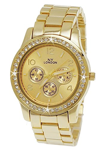NY London designer Strass Damen Armband Uhr Chronograph Optik Gold inkl Uhrenbox