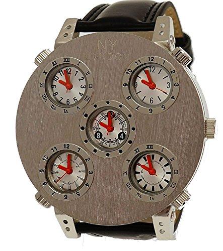 NY London XXL designer 5 Uhrwerke Mega grosse Silber Schwarz inkl Uhrenbox