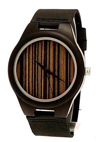Henny Klein designer Damen Herren OEko Natur Holz Rindsleder Armbanduhr in Schwarz Braun Uhr limitierte edition inkl Uhrenbox