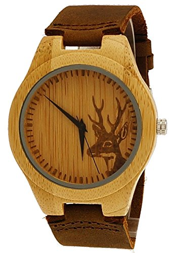 Henny Klein Damen Herren Hirsch OEko Natur Holz Leder Armbanduhr in Braun mit Hirschmotiv Uhr limitierte edition inkl Uhrenbox
