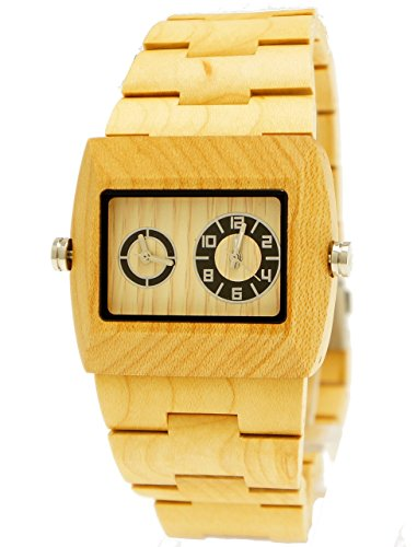 26 Pure Time designer Herren Holz Armbanduhr Dualtimer Uhr in Ahorn inkl Holz Uhrenbox