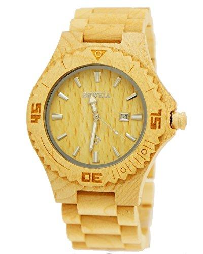21 Pure Time designer Herren Holz Uhr Armbanduhr mit Datum in Ahorn inkl Holz Uhrenbox