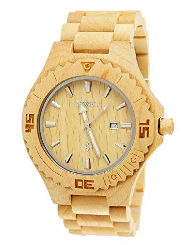 6 Pure Time designer Unisex Damen Herren Holz Armbanduhr Uhr mit Datum in Ahorn inkl Holz Uhrenbox
