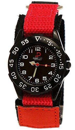 Coole Pure Time Kinderuhr Maedchen Nylon Textil Uhr mit Klettverschluss Armband Motiv in Rosa Rot Schwarz inkl Uhrenbox