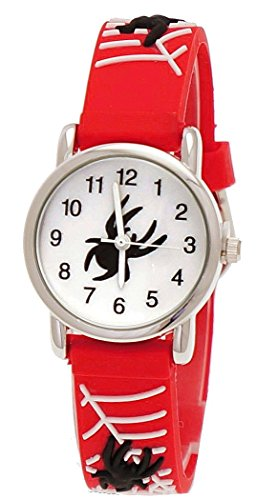 Pure Time Kinderuhr Kinder Maedchen Silikon Armband Uhr mit 3d Spinnen Mann Motiv Rot Weiss inkl Uhrenbox