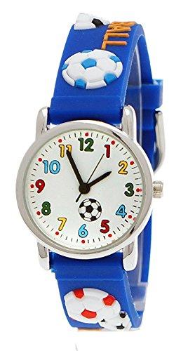 Pure Time Kinderuhr Kinder Jungen Maedchen Silikon lernuhr Armband Uhr mit 3D Fussball Motiv in Blau inkl Uhrenbox