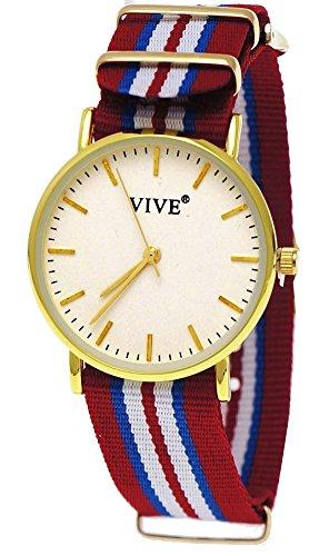 33 Pure Time Unisex Damen Herren Textil Uhr Rot Weiss Gold super flach inkl Uhrenbox