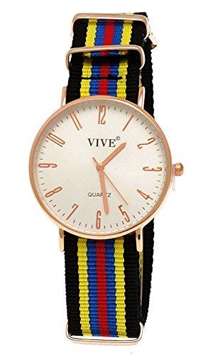 Pure Time Unisex Damen Herren Textil Uhr Blau Rot Rose Gold super flach inkl Uhrenbox