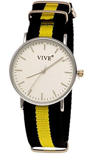 Pure Time Unisex Damen Herren Textil Uhr Schwarz Gelb Silber super flach inkl Uhrenbox