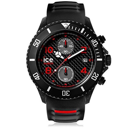 Ice Watch ICE carbon Black White Schwarze mit Silikonarmband Chrono 001316 Extra Large