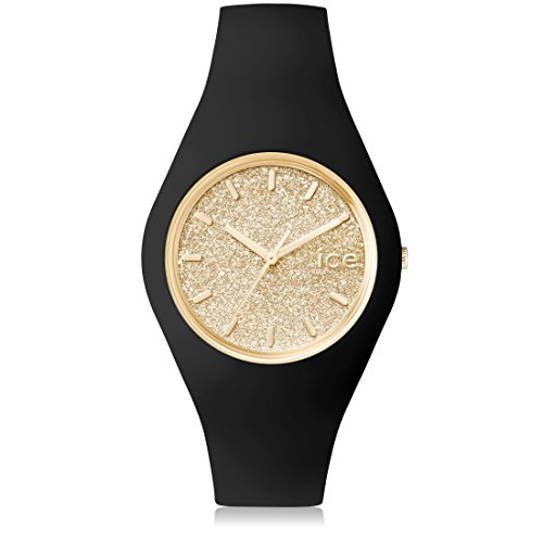 Ice Watch ICE glitter Black Gold Schwarze mit Silikonarmband 001355 Medium