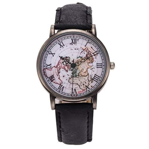 Retro Weltkarte Damen-Armbanduhr roemische Ziffer Bronze Gehaeuse Kleid Analog-Quarz-Uhren Lederband