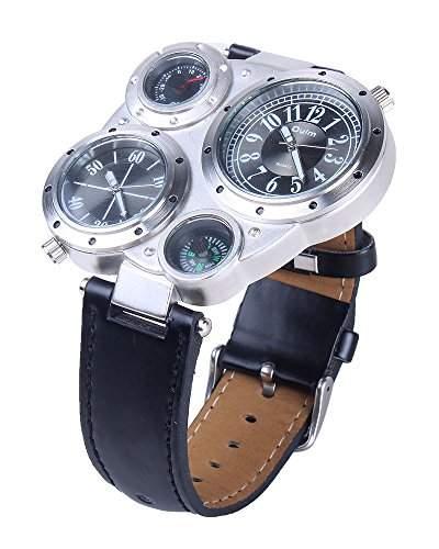 Mens Uhr Oulm Voyager Retro Multi Zeitzone Compass Flieger Sportuhr