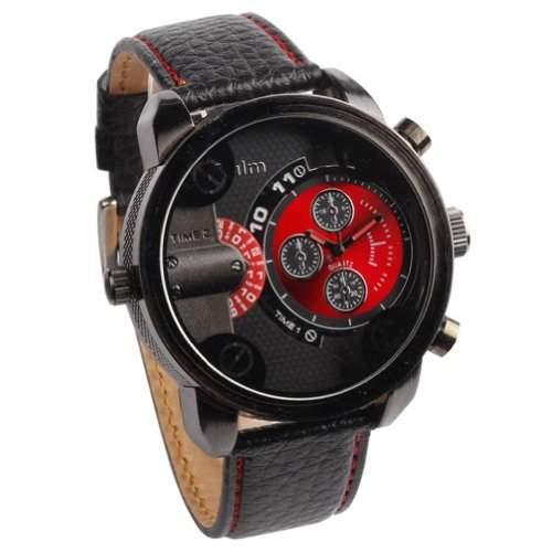 CHIC*MALL Oulm Herren Zwei Zifferblaetter Deep Blue -Armbanduhr rot