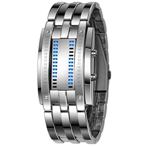 LED Binaer Armbanduhr Edelstahlarmband Wasserdicht Anzeige Kalender monat fuer Maenner
