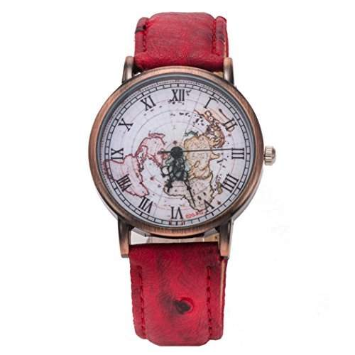 Coxeer Retro Weltkarte Damen-Armbanduhr roemische Ziffer Bronze Gehaeuse Kleid Analog-Quarz-Uhren Lederband (rot