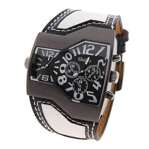 Anzeige Zweier Zeit Quarz Armbanduhr mit Kunstleder Band fuer Maenner