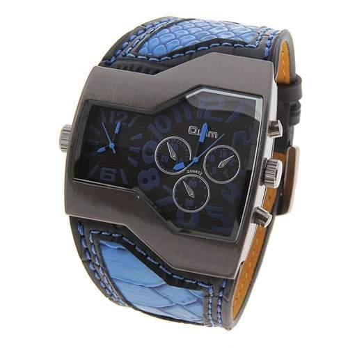 Coxeer OULM Multi Funktion Dual Movt Leder Armbanduhr Quarz Sport Sport Uhr von Coxeer