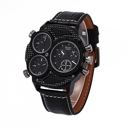 Coo Uhren 3594 Herren Business Freizeit Multi Time Zone Leder Band Quarz Taille watch black