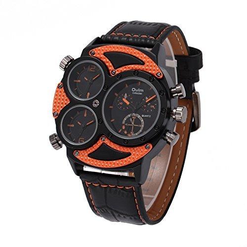 Coo Uhren 3594 Herren Business Freizeit Multi Time Zone Leder Band Quarz Taille watch orange