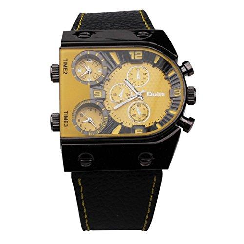 OULM HP9315 Man Armband Uhr Militaer Multifunktions Uhren 3 Dials Sport Watch Quartzuhr PU Leder Armband Gelb Zifferblatt