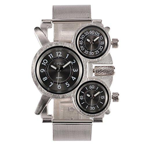 OULM Militaer Armband Uhren Drei Zeitanzeige Sport Watch Stahl Armband Quartzuhr Schwarz Zifferblatt