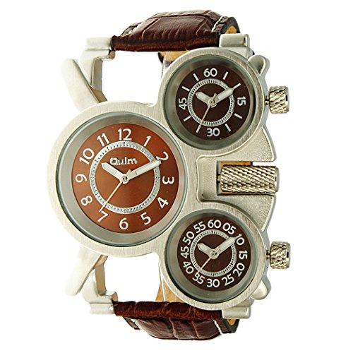 OULM Militaer Armband Uhren Drei Zeitanzeige Sport Watch PU Leder Armband Quartzuhr Braun Zifferblatt