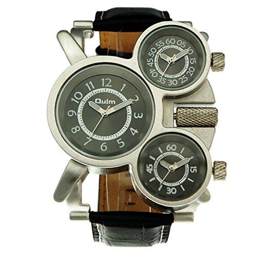 OULM Militaer Armband Uhren Drei Zeitanzeige Sport Watch PU Leder Armband Quartzuhr Schwarz Zifferblatt
