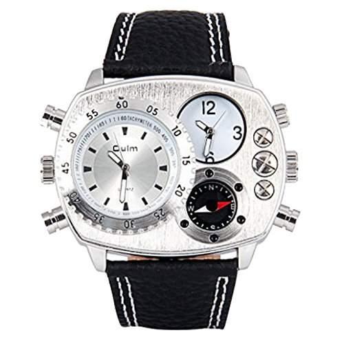 Oulm Herren Cool Quarzuhr Dual Ellipsen Zifferblatt und Leder Armbanduhr mit Kompass und Thermometer - Silber