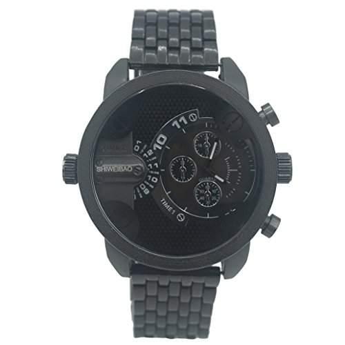 Oulm Herren Quarz Wasserdicht Armbanduhr Dual Bewegungen Stahlband Uhren mit Kompass und Thermometer - Schwarz