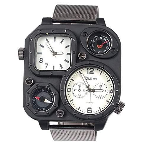 Oulm Herren Analog Armbanduhr Russland Militaerarmee Multi-Zeitzonen Quadratisch Weiss Zifferblatt Stahlband Uhr