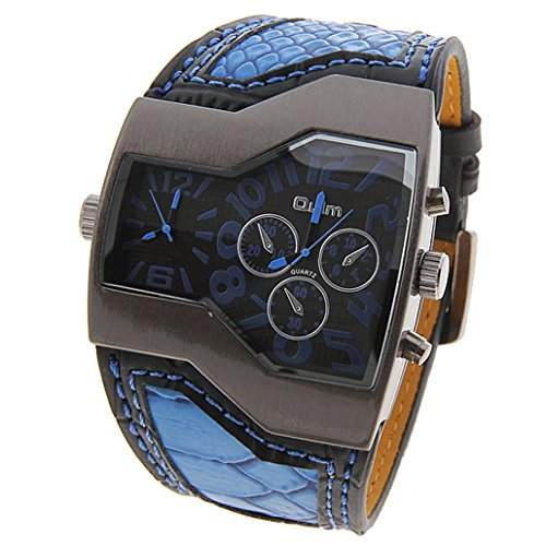 Oulm Multi-Funktionen Dual Bewegungen Leder Armbanduhr mit Quarz Zifferblatt - Blau