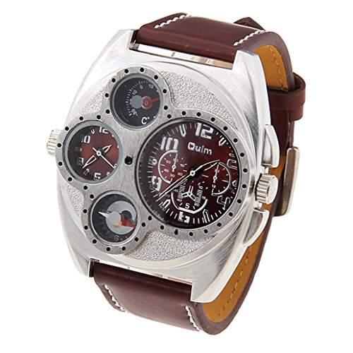 Oulm Herren Multi-Funktionen Dual Bewegungen Quarz Armbanduhr mit Lederband - Braun